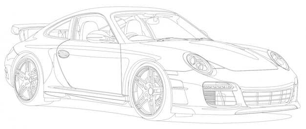 Lijn kunst sport auto zwart en wit Premium Vector