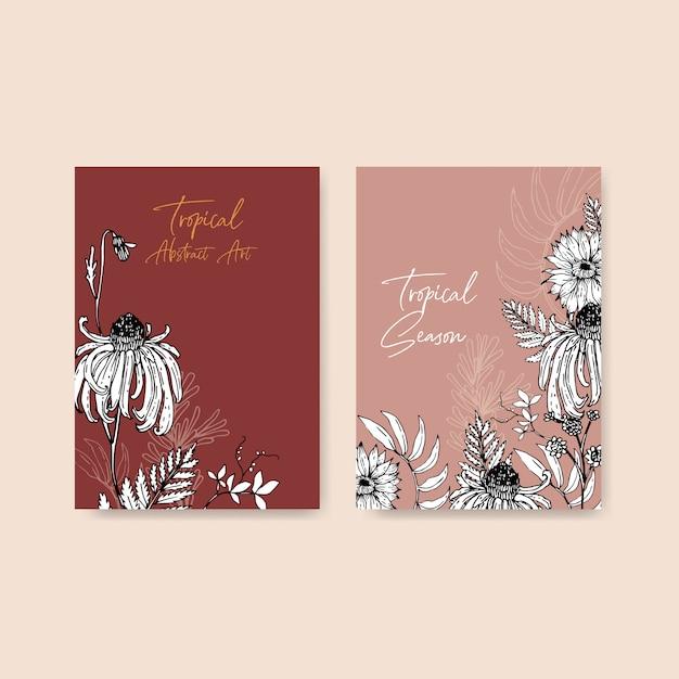 Lijn kunst tropische frame ontwerp met bloemen en bladeren hand getekende illustratie. Gratis Vector