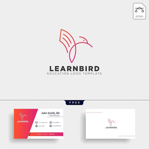 Lijn papier of boek vogel logo sjabloon vectorillustratie Premium Vector