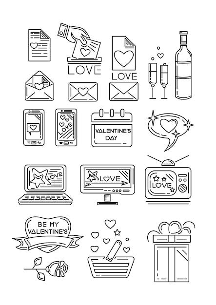 Lijn pictogrammen instellen voor valentijnsdag en andere romantische evenementen. geschenkdoos, kalender, roze bloem, romantische boodschap, apparaten, hart met een inscriptie - be my valentine. illustratie Premium Vector