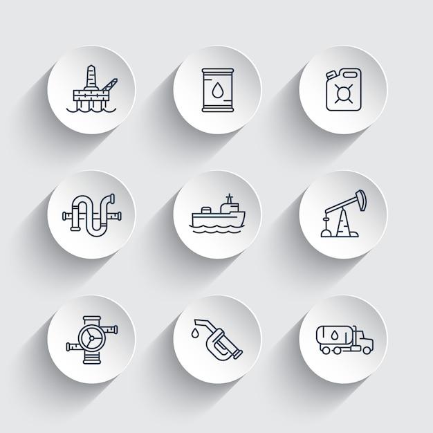Lijn pictogrammen van de aardolie-industrie, benzinemondstuk, vat, olie- en gasproductieplatform Premium Vector