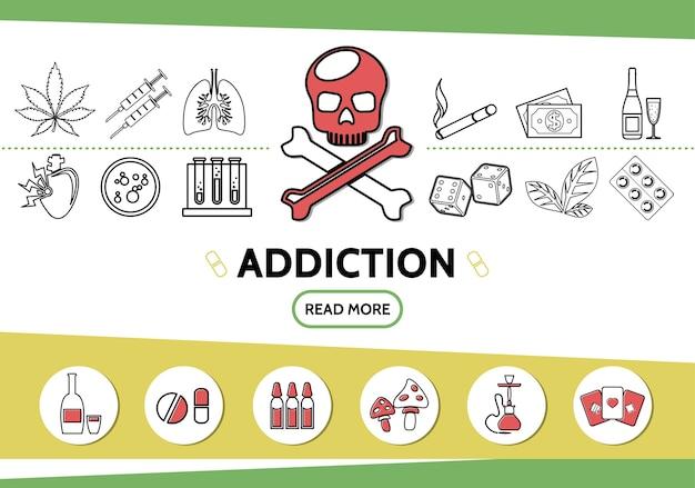 Lijn slechte gewoonten pictogrammen instellen met schedel marihuana tabaksbladeren spuiten sigaretten geld dobbelstenen drugs Gratis Vector