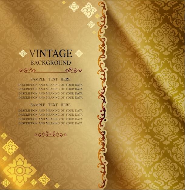 Lijn thaise achtergrond gouden van licht Premium Vector