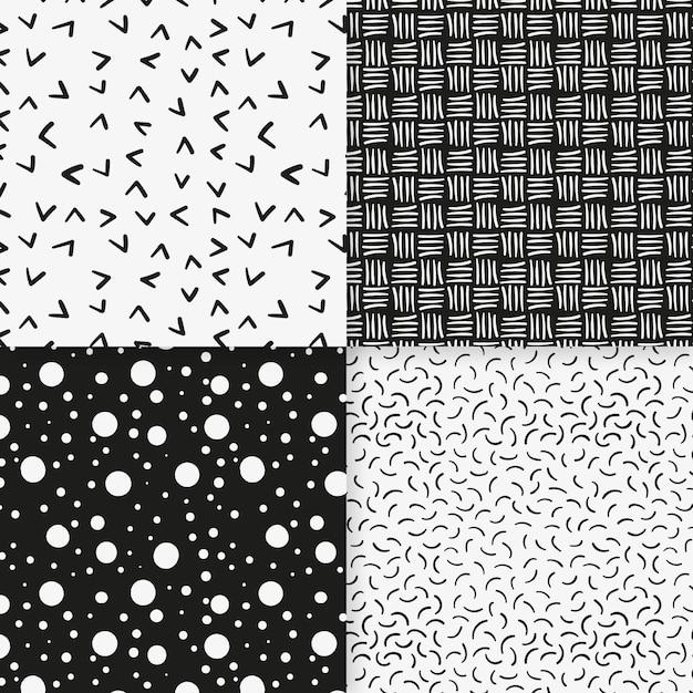Lijnen en stippen minimale geometrische patroonsjabloon Gratis Vector