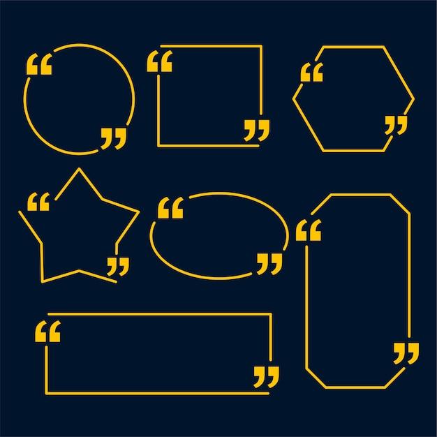 Lijnstijl citeert sjabloon in verschillende geometrische vormen Gratis Vector