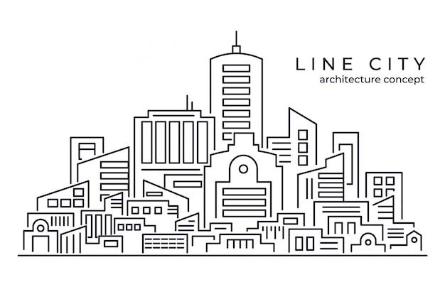Lijntekeningen vectorillustratie van grote stad achtergrond Premium Vector