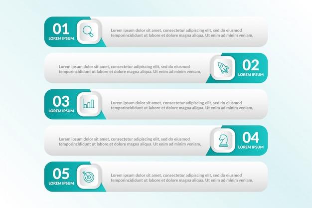 Lijst infographic ontwerp met 5 lijsten info Premium Vector