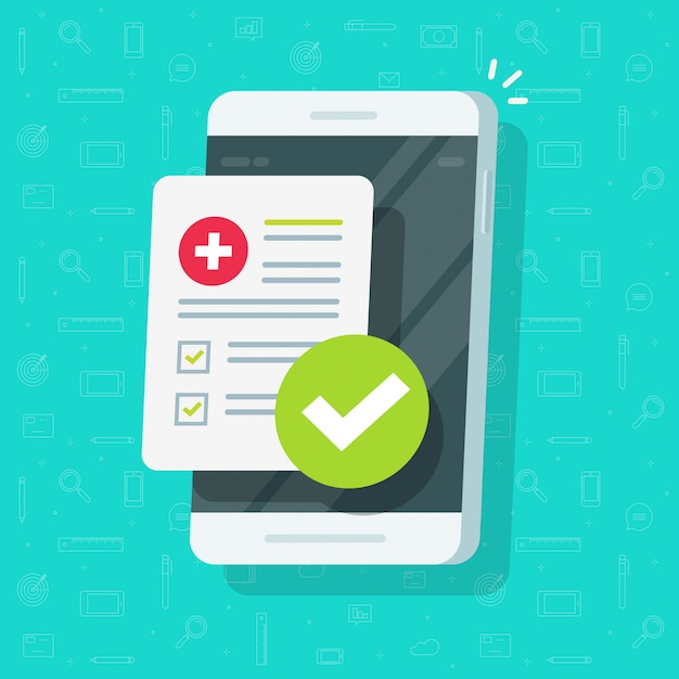 Lijst met medische formulieren of klinische checklist met resultatengegevens en goedgekeurd vinkje op platte cartoon van mobiele telefoon of mobiele telefoon Premium Vector