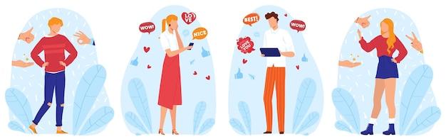 Likes, sociale media netwerkclub en ondersteuning, set van illustraties. internet delen concept. Premium Vector