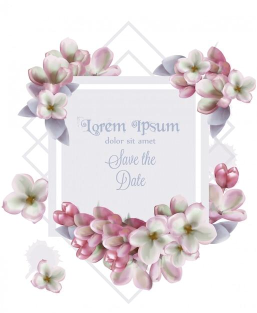 Lilac de uitnodigingswaterverf van de bloemenkaart Premium Vector