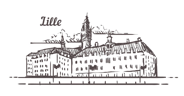 Lille, frankrijk stadsgezicht Premium Vector