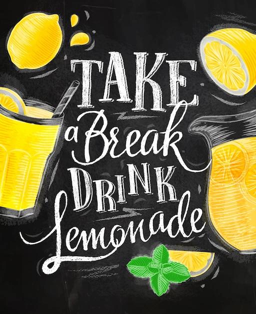 Limonade elementen glas, citroen, kruik, munt Premium Vector