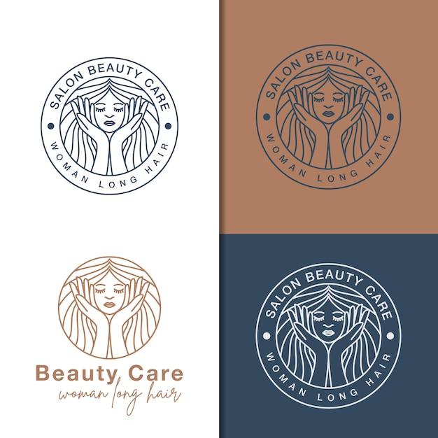 Line art schoonheidsverzorging logo's Premium Vector