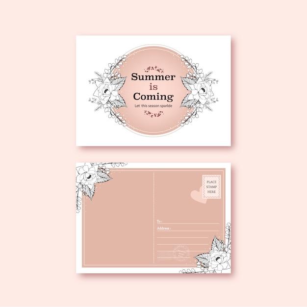 Line art tropische briefkaart ontwerp met bloemen en bladeren hand getekende illustratie. Gratis Vector