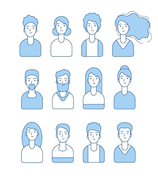 Line avatars collectie. web internet profiel karakters worden geconfronteerd met mannelijke en vrouwelijke gebruiker anonieme vector avatars. illustratie vrouwelijk en mannelijk profielkarakter Premium Vector