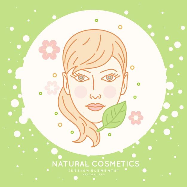 Lineair label voor natuurlijke cosmetica. illustratie van een meisjeshoofd met gezond haar. Premium Vector