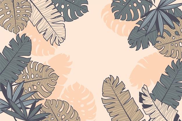Lineair ontwerp met tropische bladeren Gratis Vector