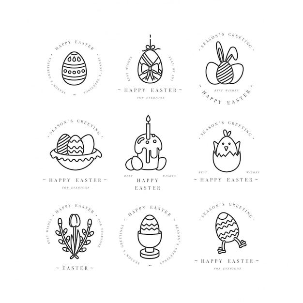 Lineair ontwerp pasen-groetenelementen op witte achtergrond. typografie ang pictogram voor happy easter-kaarten, banners of posters en andere printables. lente vakantie ontwerpelementen. Premium Vector