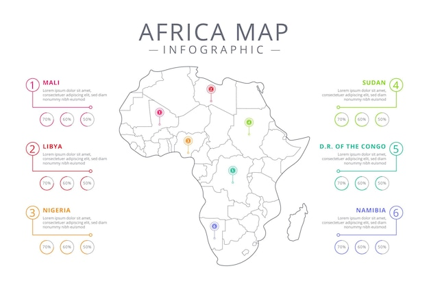 Lineaire afrika kaart infographic Premium Vector