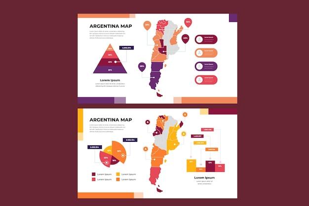 Lineaire argentinië kaart infographic Gratis Vector