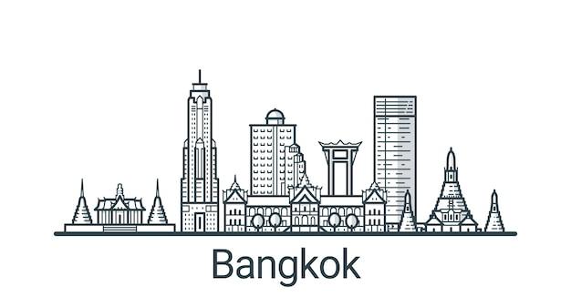 Lineaire banner van de stad bangkok. alle gebouwen - aanpasbare verschillende objecten met achtergrondvulling, zodat u de compositie voor uw project kunt wijzigen. lijn kunst. Premium Vector