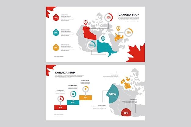 Lineaire canada kaart infographic Gratis Vector