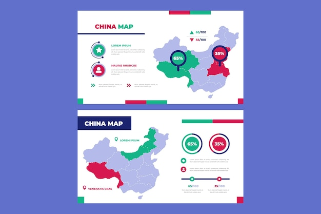 Lineaire china kaart infographic Premium Vector