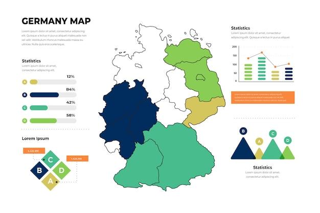 Lineaire duitsland kaart infographic Gratis Vector