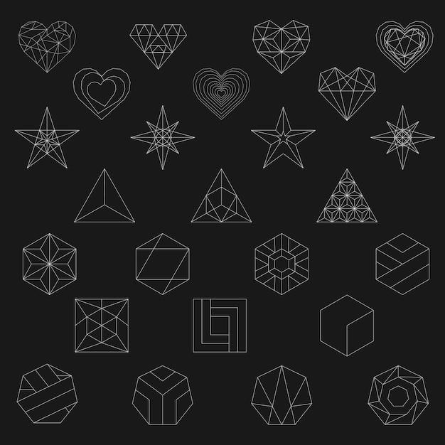 Lineaire illustratie van geometrische vormen Gratis Vector