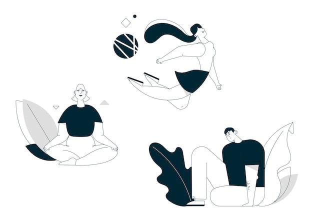 Lineaire karakter vectorillustratie van een gezonde levensstijl, balans houden. lachende vrouw mediteert in lotuspositie, vliegen, zittend in yoga asana Premium Vector