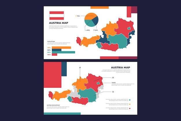 Lineaire oostenrijk kaart infographic Gratis Vector