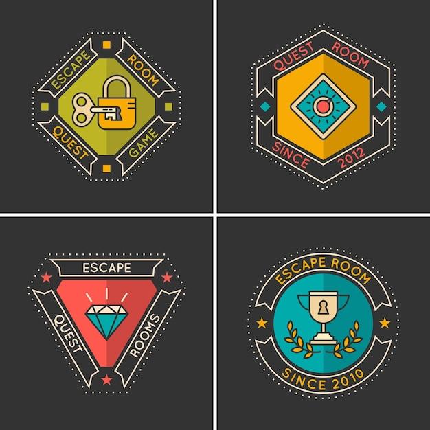 Lineaire pictogrammen en logo voor de zoektocht en ontsnapping uit de kamer. Premium Vector
