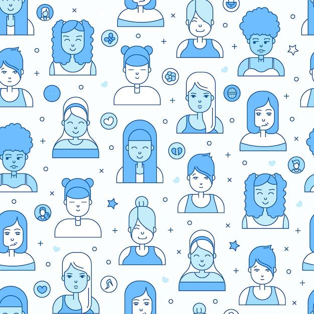 Lineaire platte mensen worden geconfronteerd met naadloos patroon. sociale media avatar, userpic en profielen. Gratis Vector