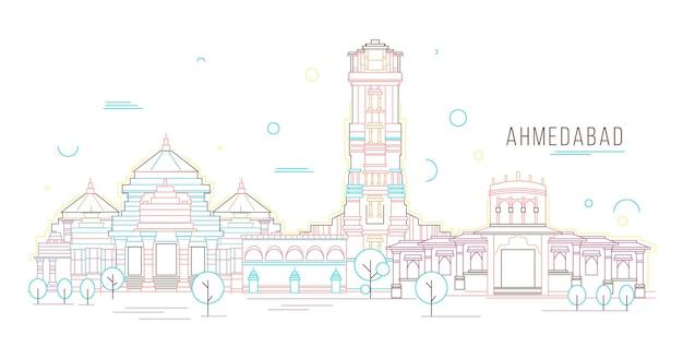 Lineaire skyline van ahmedabad Gratis Vector