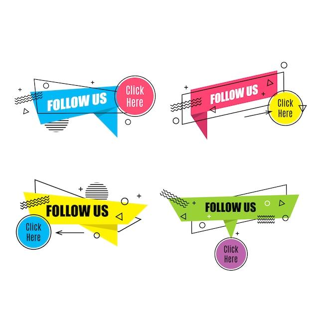 Lineaire sociale media-tag instellen Premium Vector