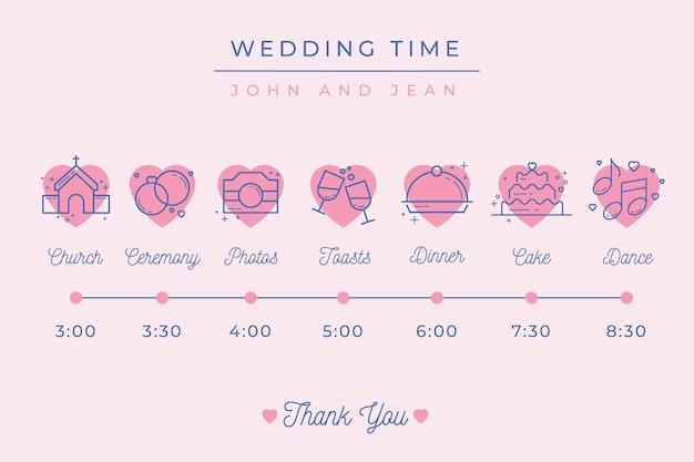 Lineaire stijl bruiloft tijdlijn sjabloon Gratis Vector