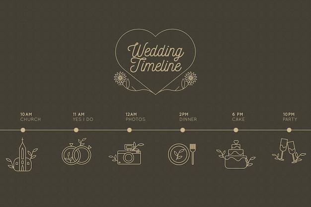 Lineaire stijl bruiloft tijdlijn Gratis Vector