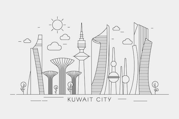 Lineaire stijl koeweit skyline Gratis Vector