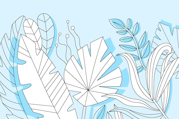 Lineaire tropische bladeren concept Gratis Vector