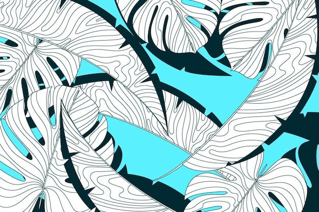 Lineaire tropische bladeren met pastelkleurachtergrond Premium Vector