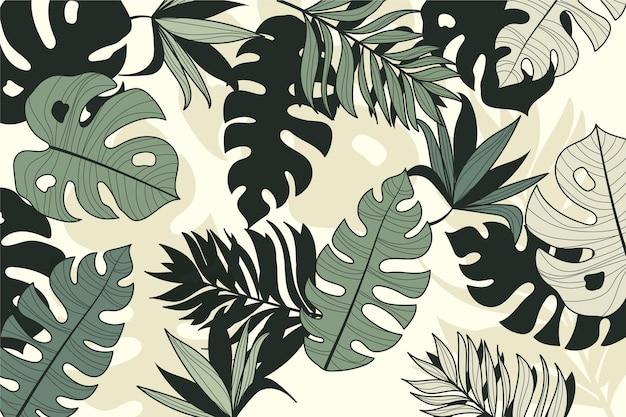 Lineaire tropische bladerenstijl Gratis Vector