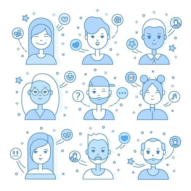 Lineaire vlakke mensen worden geconfronteerd met illustratie. sociale media avatar, userpic en profielen. Gratis Vector