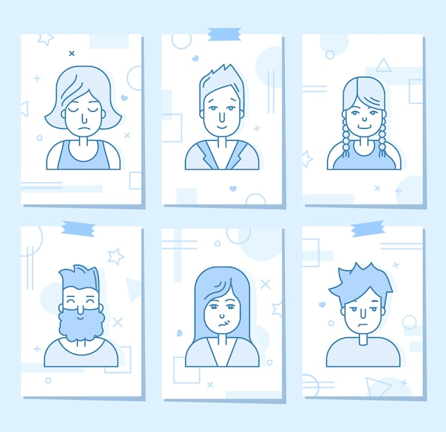 Linear flat people faces icon set. sociale media avatar, userpic en profielen. Gratis Vector