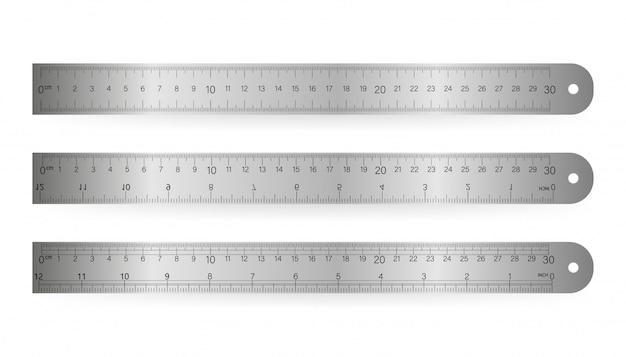 Liniaal, geïsoleerde pictogram pictogram op een witte achtergrond. vector illustratie. Premium Vector