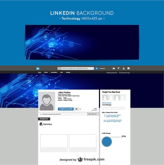 Linkedin technologie achtergrond Gratis Vector