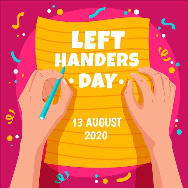 Linkshandige dag met confetti Gratis Vector