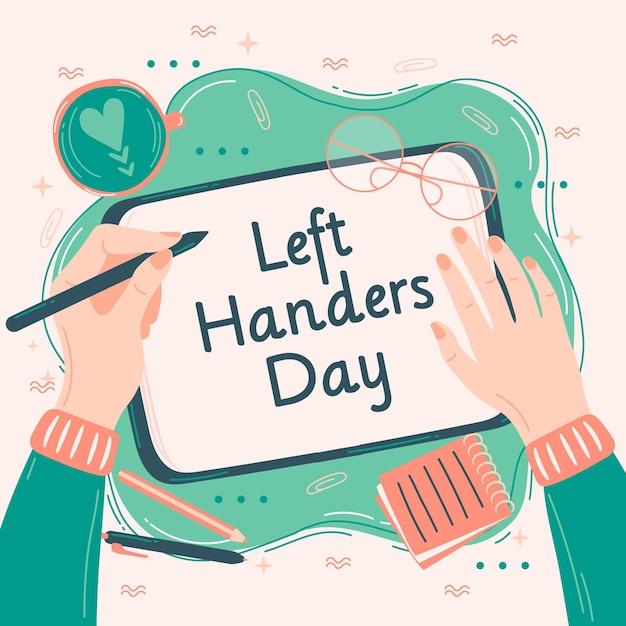 Linkshandige dag met persoon schrijven Gratis Vector
