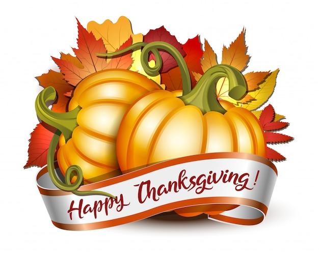 Lint met happy thanksgiving-letters en oranje pompoenen Premium Vector