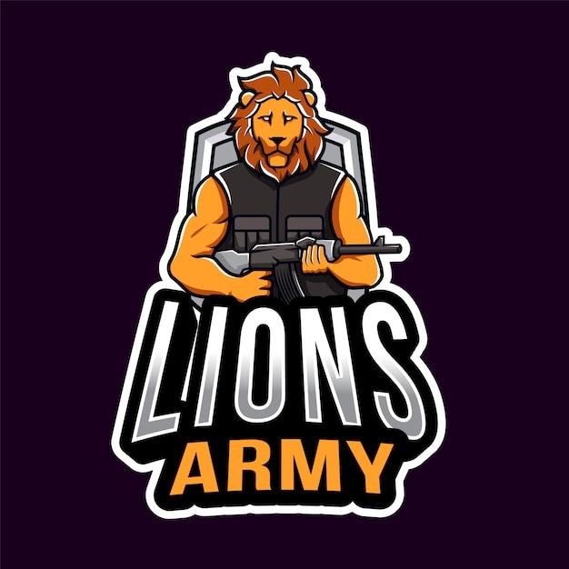 Lion army esport logo sjabloon Premium Vector