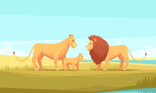Lion boerderij aard achtergrond Gratis Vector